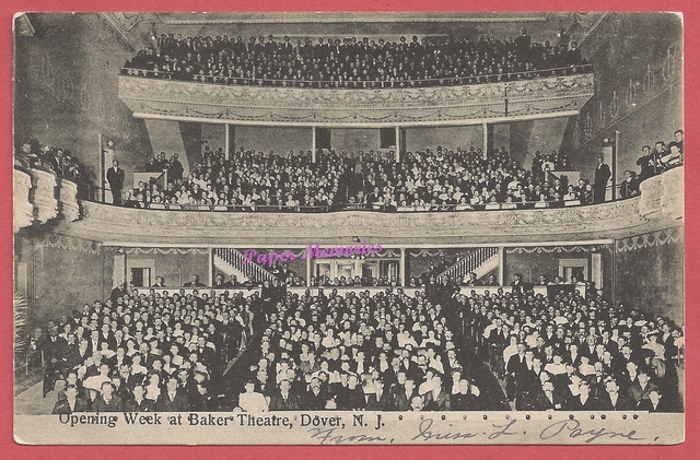 "Interior titled: ""Opening Week at Baker's Theatre, Dover, N.J"", post card pic"