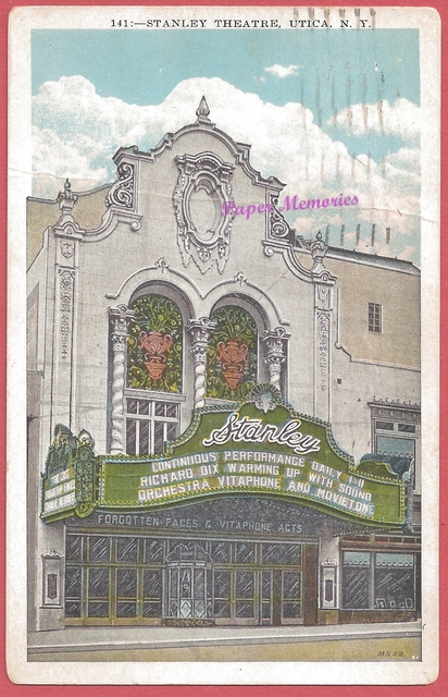 1929 post card of the Stanley Theatre, Utica, NY