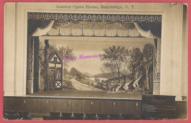 circa 1910 real photo post card view of the interior (Stage view) in the Bainbridge Opera House, aka the Town Hall Opera House