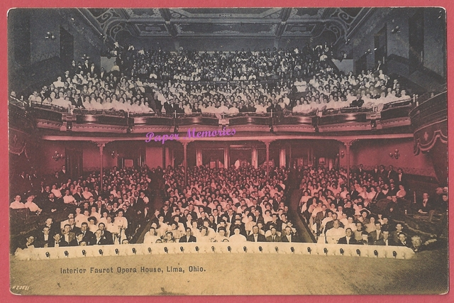 1910 post card view titled, 'Interior Faurot Opera House Lima Ohio
