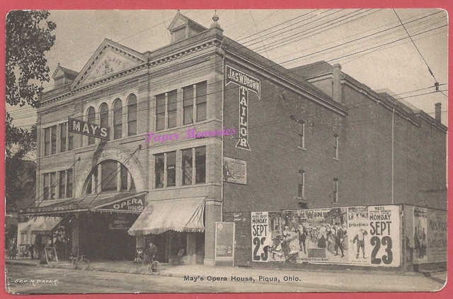 1911 post card view of May's Opera House, in Piqua Ohio.