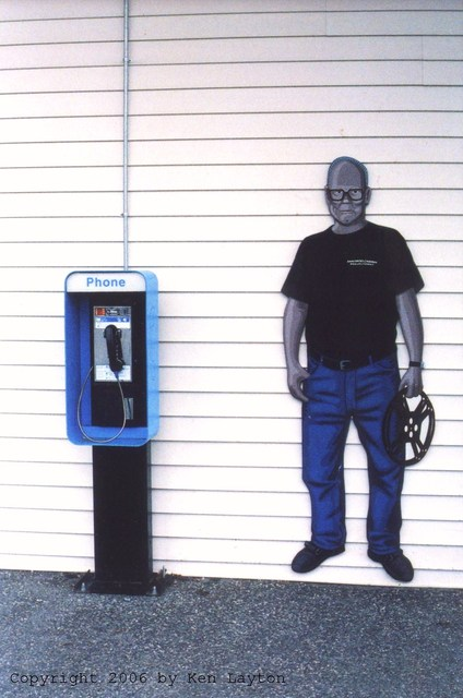Paul Thompson next to payphone