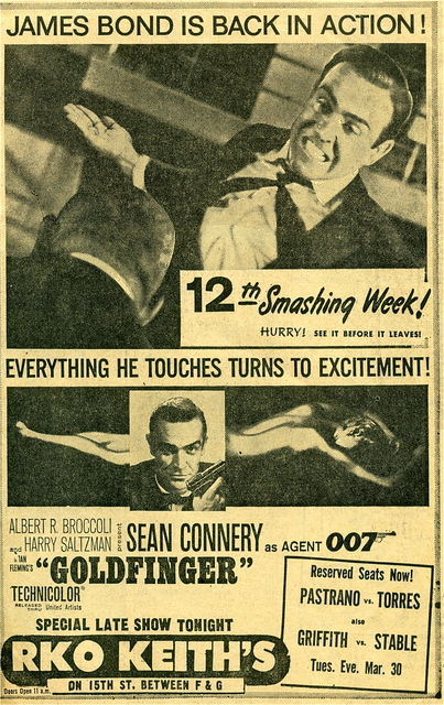 GOLDFINGER at RKO KEITH'S theatre  SEAN CONNERY