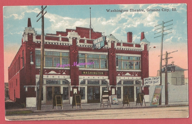 Post card view of the Washington Theatre, circa 1910-1912.