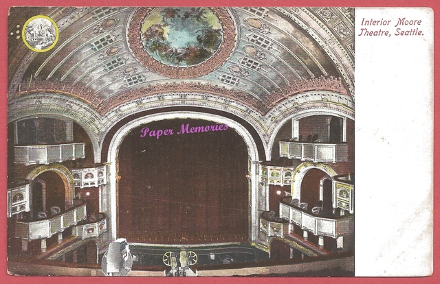 1907-08 post card view of the interior of the Moore Theatre