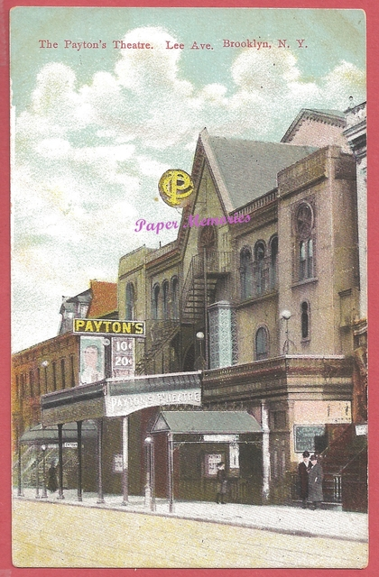 circa 1910 post card view showing Payton's Theatre, in the center of a block of buildings
