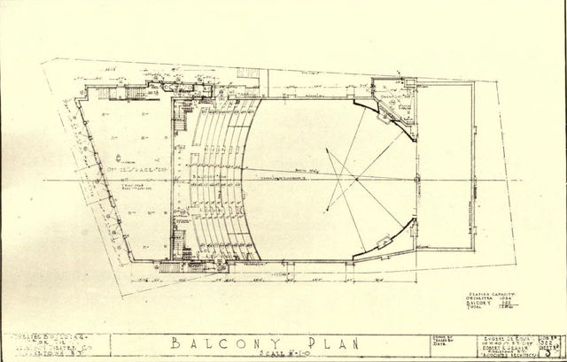 Balcony Plan, State Theatre, Middletown, NY