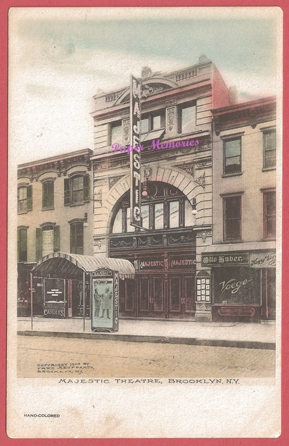 1907 post card view of the Majestic Theatre in Brooklyn