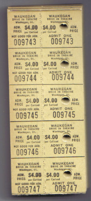 WAUKEGAN DRIVE-IN admission tickets.