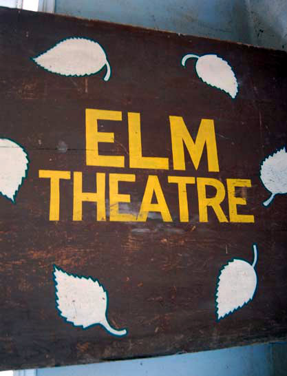ELM Theatre (Wauconda, Illinois) original sign on display in the Lake County Discovery Museum