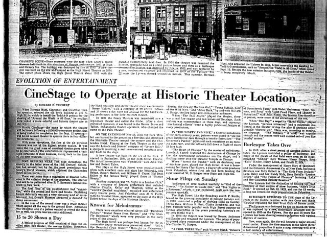"""Cinestage to Operate at Historic Theater Location"""