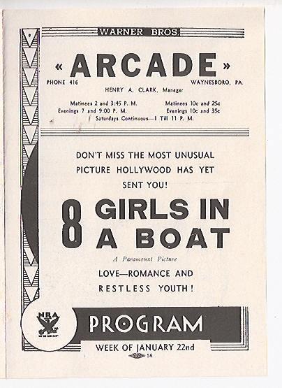 ARCADE Theatre, Waynesboro, Pennsylvania: Playbill, 1934