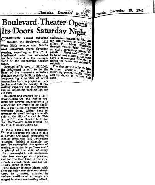 """Boulevard Theater Opens..."""