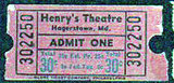 Admission ticket, HENRY'S Theatre, Hagerstown, Maryland.