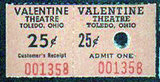 Admission ticket, VALENTINE Theatre, Toledo, Ohio