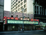 <p>The Rialto in the 1980's (exact date unknown). Like so many downtown LA movie palaces it stayed open by showing Spanish language films.</p>