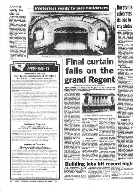 News article on the demolition of the Regent