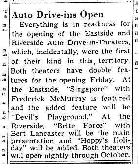 """""""Auto Drive-ins Open"""""""