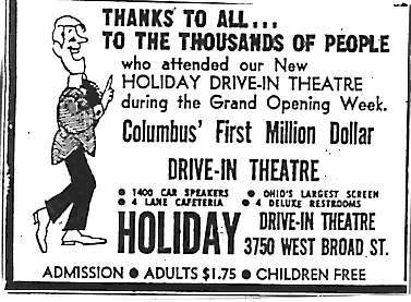"""Columbus' First Million Dollar Drive-In Theatre"""