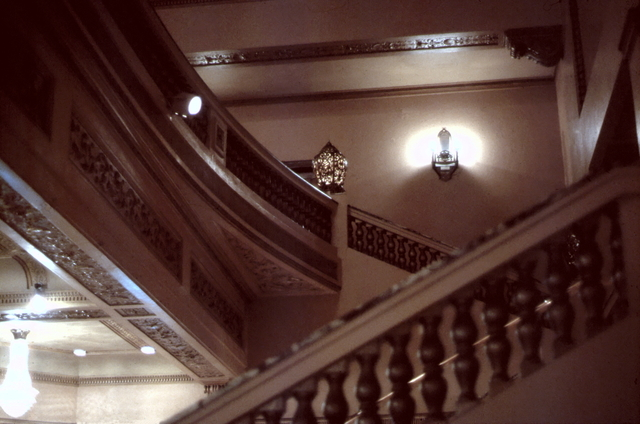 Looking up to the Dress Circle Foyer from the Lobby.