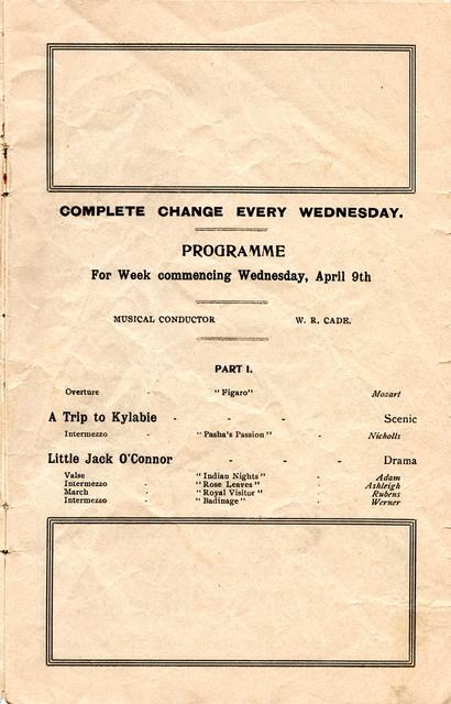 Wondergraph Programme, Page 1.