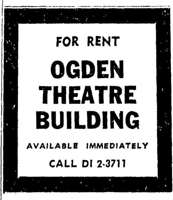 Ogden Theatre for Rent 1960