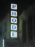 RHODE Opera House vertical sign, as seen in April 2012.