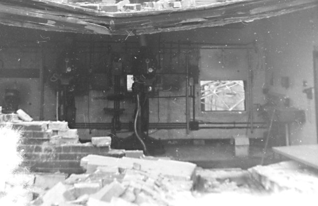 Trocadero projection box after fire.