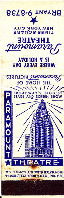 Promotional matchbook, PARAMOUNT Theatre, New York, New York.