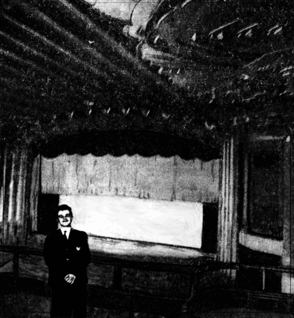 Standing on the balcony of the Midway Theater.