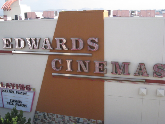Edwards Cinemas close up on the southwest face of the building