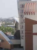 "Close up of the vertical ""Edwards"" sign above the box office"