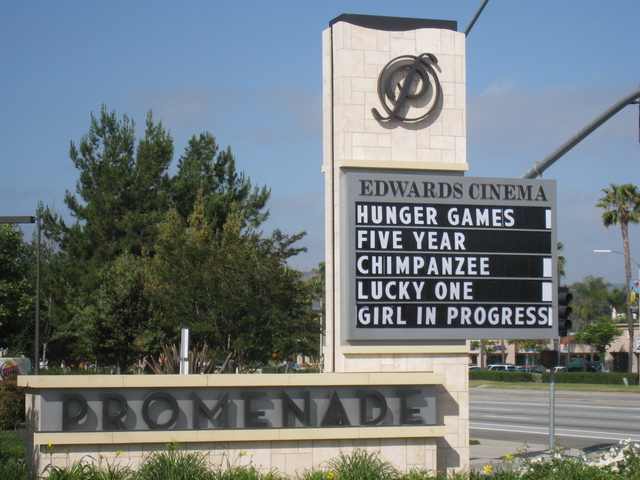 Roadside marquee for the Edwards Cinema theater