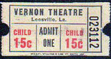 VERNON Theatre ticket, Leesville, Louisiana