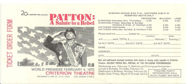 Patton reserved seat ticket order form Criterion NYC 1970