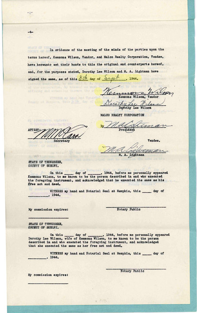 Contract:  Kemmons Wilson purchases PRINCESS THEATRE 1944