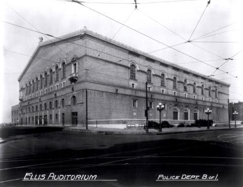Early exterior of Ellis Auditorium
