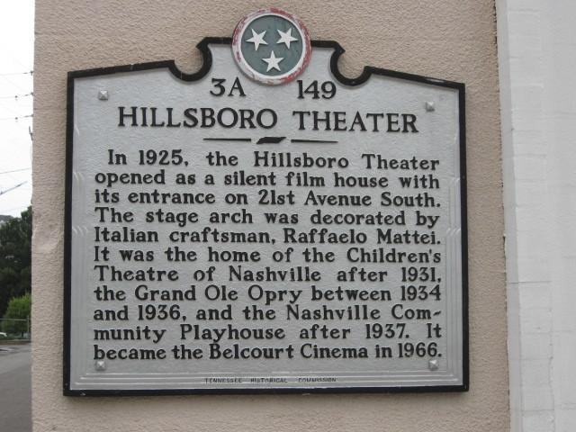 Historic marker of Hillsboro/Belcourt Theatre