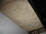 Plaster ceiling medallion from 1925 visible upstairs August 2012