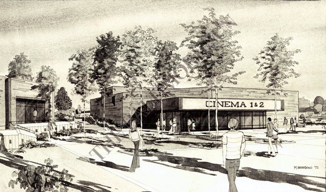 Architectural rendering, COLUMBIA CITY CINEMA, Columbia, Maryland, 1972.