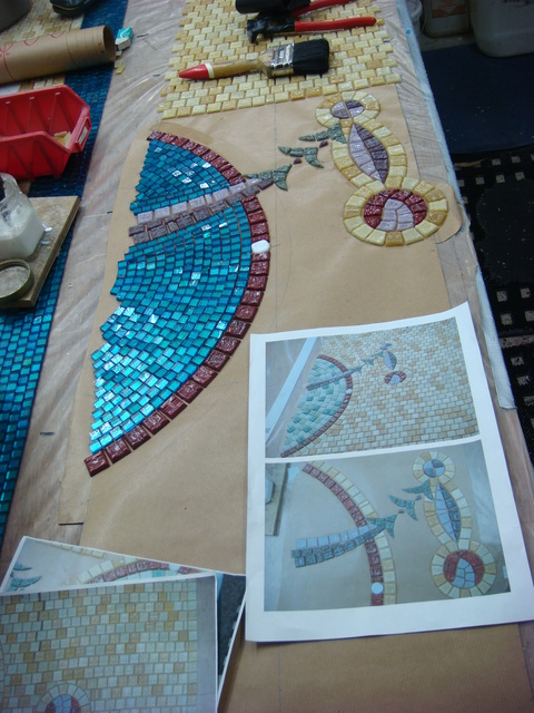 Making Mosaic Domes in studio