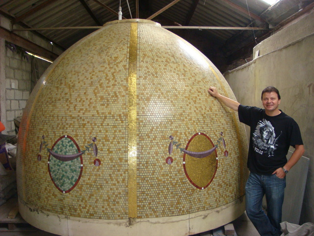 Paul B Bull with fixed mosaic dome