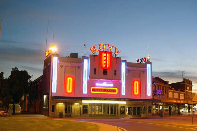 Roxy Community Theatre at dusk