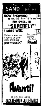Sand Theatre ad from Sunday  March 4, 1973