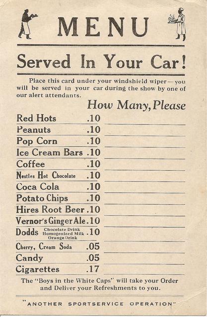Ordering menu.