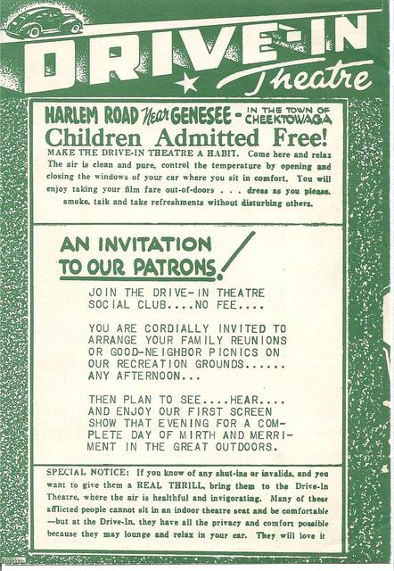 Drive-In Playbill Backside