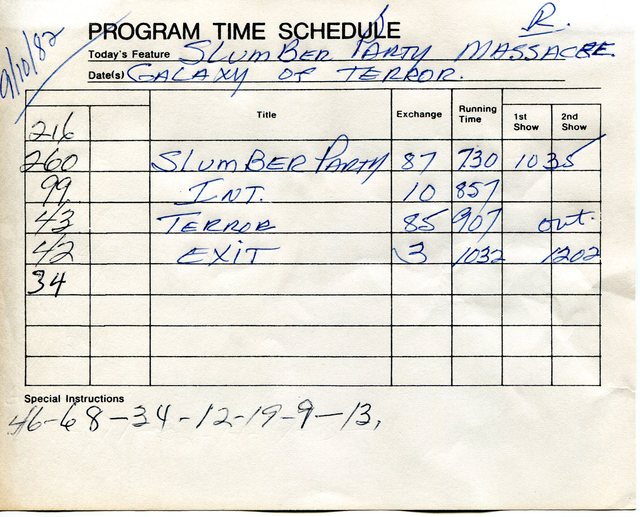 "these were the ""time sheets"" used in the box office"