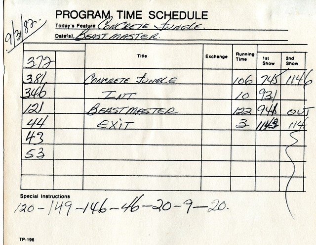 """""""time sheets"""" used in the box office"""