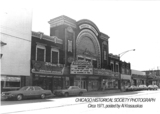 <p>Front view of the original Brighton Theater buildings facade, circa 1971. From the Chicago Historical Society photo archives.</p>