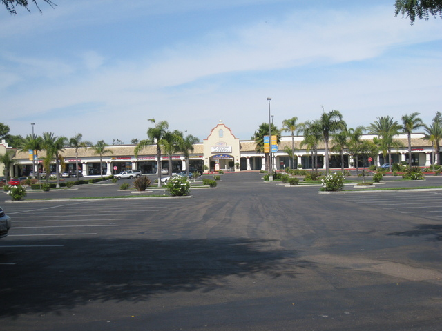 Wide shot of shopping center
